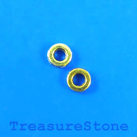 Bead, gold-finished, 6mm circle. Pkg of 28.