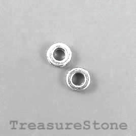 Bead, silver-finished, 6mm circle. Pkg of 28.
