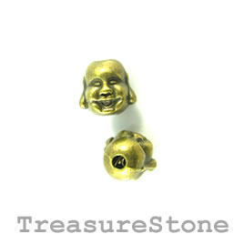 Bead, brass finished. 10mm laughing buddha head. Pkg of 10.