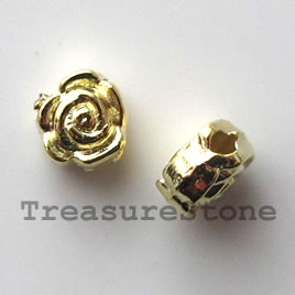 Bead, bright gold-finished, 7mm rose. Pkg of 25.