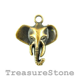 Charm/Pendant, brass-plated, 22mm elephant. Pkg of 5.