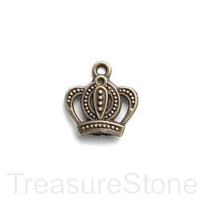 Charm, pendant, brass-plated, 14x16mm crown. Pkg of 10.