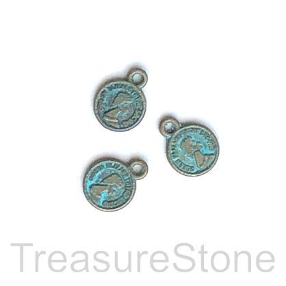 Charm, patina-plated, 8mm coin. Pkg of 15.