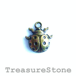 Charm, brass-plated, 13mm ladybug. Pkg of 12.