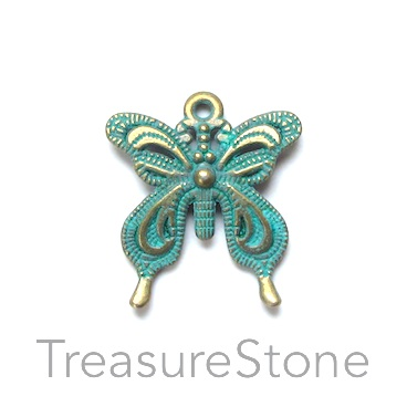 Charm/Pendant, turquoise brass-plated, 24mm butterfly. Pkg of 8.