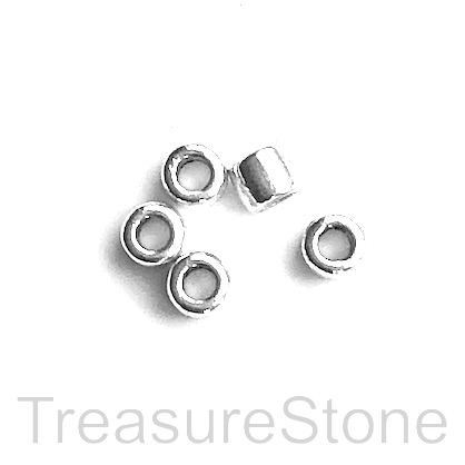 Bead, antiqued Silver Finished, 4x5mm tube, large hole, 2mm. 20