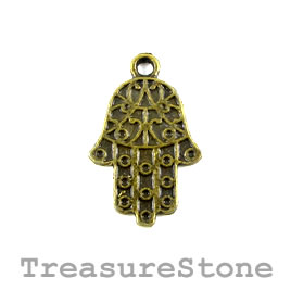 Charm/pendant, brass-finished, 16x21mm Fatima hand. Pkg of 12.