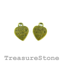 "Charm, brass-plated, 10mm heart ""Made with Love"". Pkg of 15."