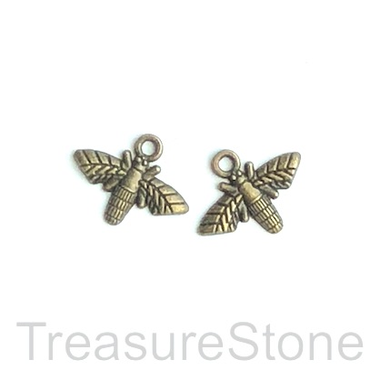 Charm, brass-finished, 10x17mm bee. Pkg of 12.