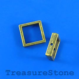 Bead frame, brass-finished, 13mm square, Pkg of 6.