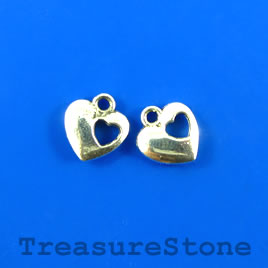 Charm, silver-plated, 11mm heart. Pkg of 12.