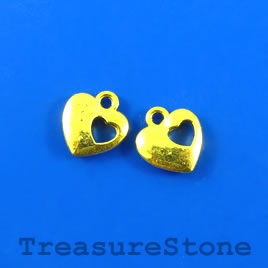 Charm, gold-plated, 11mm heart. Pkg of 12.