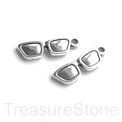 Charm, silver-finished, 6x18mm glasses. Pkg of 10.