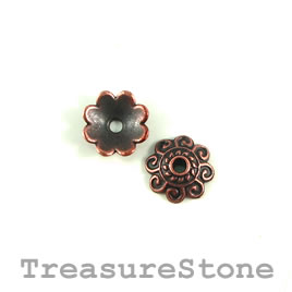 Bead cap, copper finished. 10mm. Pkg of 20.