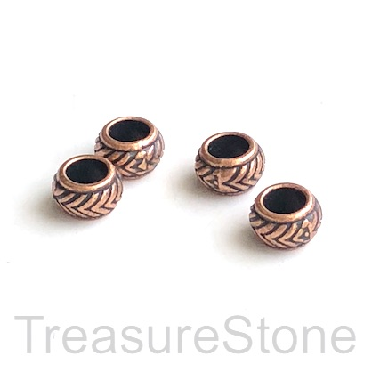 Bead, copper finished,4x7mm barrel/ rondelle, large hole, 4mm.15