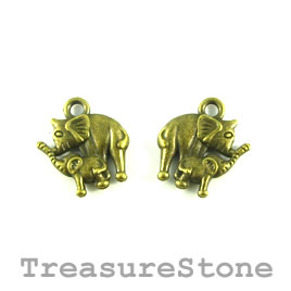 Charm, brass-plated, 14mm mother, baby elephants. Pkg of 12.