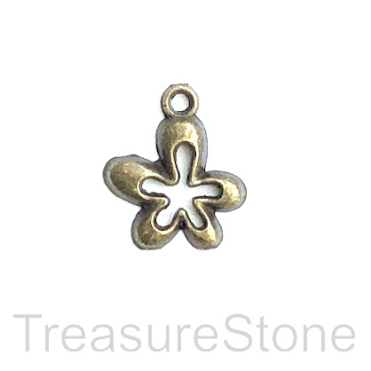 Charm/pendant, brass-plated, 14mm flower. Pkg of 12.