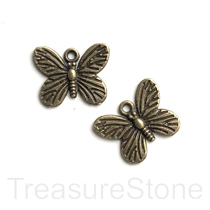 Charm, brass-finished, 13x17mm butterfly. Pkg of 12.