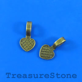 Bail, glue-on, brass_plated, 19x9mm heart flat base. Pkg of 6.