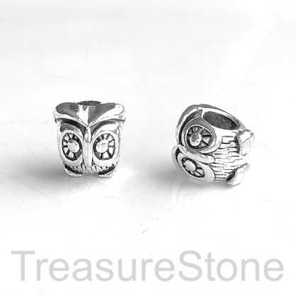 Bead, silver finished, 10x11mm owl, large hole, 4mm. Pkg of 10.