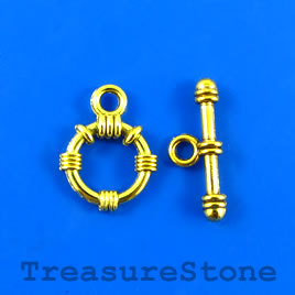 Clasp, toggle, antiqued gold-finished, 15mm/24mm. Pkg of 6.