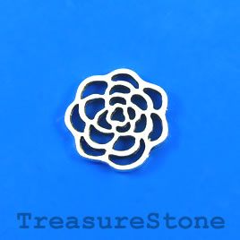Charm/Pendant/link, silver plated, 15mm flower. Pkg of 9.