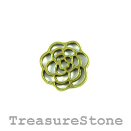 Charm/Pendant/link, brass plated, 15mm flower. Pkg of 9.