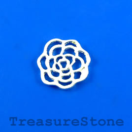 Charm/Pendant/link, bright silver plated, 15mm flower. Pkg of 9.