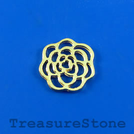 Charm/Pendant/link, gold plated, 15mm flower. Pkg of 9.