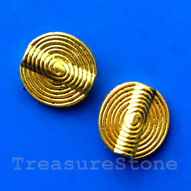 Bead, gold-finished, 14mm. Pkg of 8.