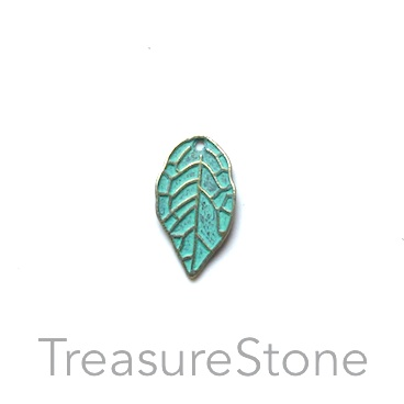 Charm, turquoise brass finished, 9x16mm leaf. Pkg of 14