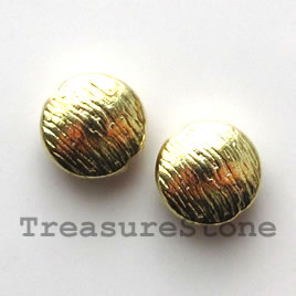 Bead, bright gold-finished, 10mm puffed round. Pkg of 12.