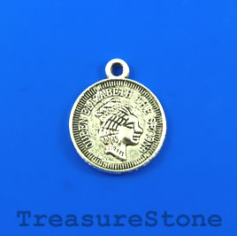 Charm/Pendant, silver-plated, 20mm coin. Pkg of 5.