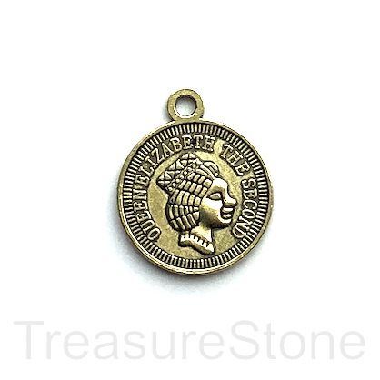 Charm/Pendant, brassy gold-plated, 20mm coin. Pkg of 5.