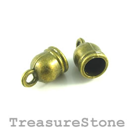 Cord end, Bead, brass-finished, 8mm, 5mm cord. Pkg of 10.