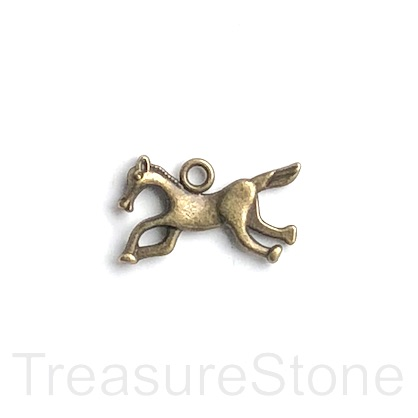 Charm, brass-finished, 14x22mm horse. Pkg of 9.