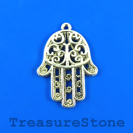 Charm/Pendant, 25x32mm filigree Fatima Hand. Pkg of 4