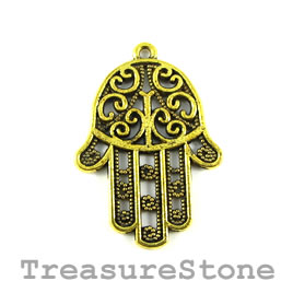 Charm/Pendant, gold-plated,25x32mm filigree Fatima Hand.Pkg of 4
