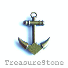 Charm, brass-finished, 19x26mm anchor. Pkg of 5.