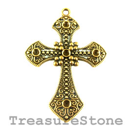 Pendant, gold-finished, 57x73mm cross. Each.