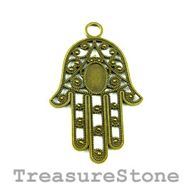 Pendant, brass-finished, 42x57mm Fatima, hamsa hand. 2.