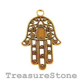 Pendant, gold-finished, 42x57mm Fatima hand. Pkg of 2.