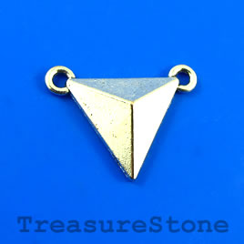 Link/Pendant, silver colored, 18mm triangle. Pkg of 6.