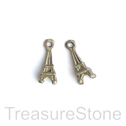 Charm, brass-finished, 5x12mm Eiffel Tower. Pkg of 12.