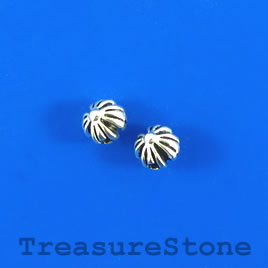 Bead, silver-finished, 7mm round pumpkin. Pkg of 16.