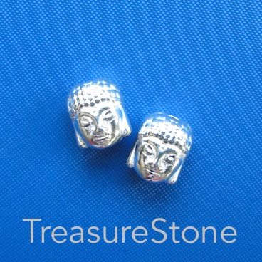 Bead, bright silver finished. 10mm buddha head. Pkg of 8.