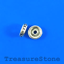 Bead, silver-finished, 10mm disc. Pkg of 16.