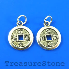 Pendant/charm, silver-finished, 15mm Chinese coin. Pkg of 6.