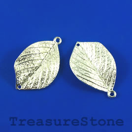 Charm/Pendant/link, 20x30mm leaf. Pkg of 5.