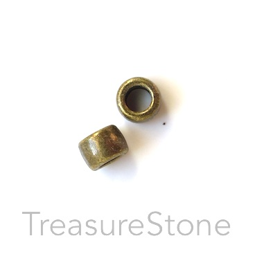 Bead, brass-colored, large hole, 4x6mm tube. Pkg of 25.